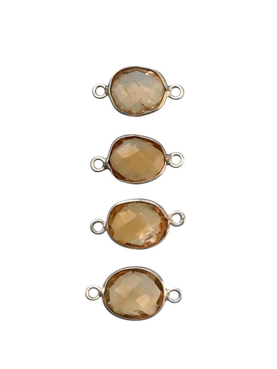 18x9mm Citrine (H) Double Sided Freeform Oval Link