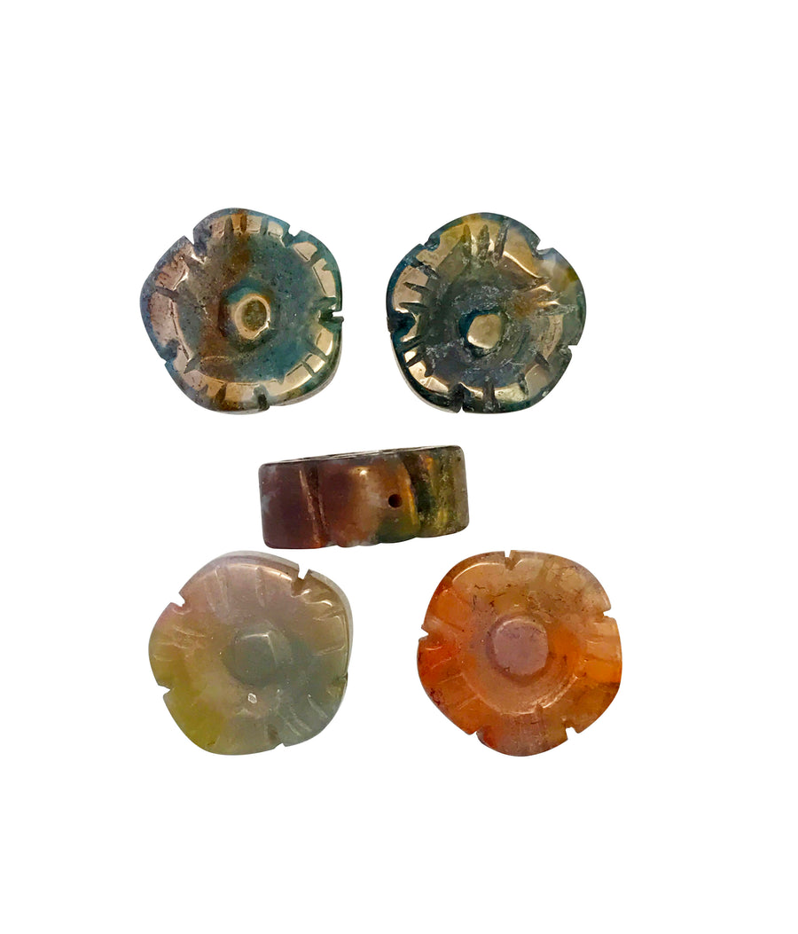 14x14mm Fancy Jasper (N) Carved Flower Designer Quality