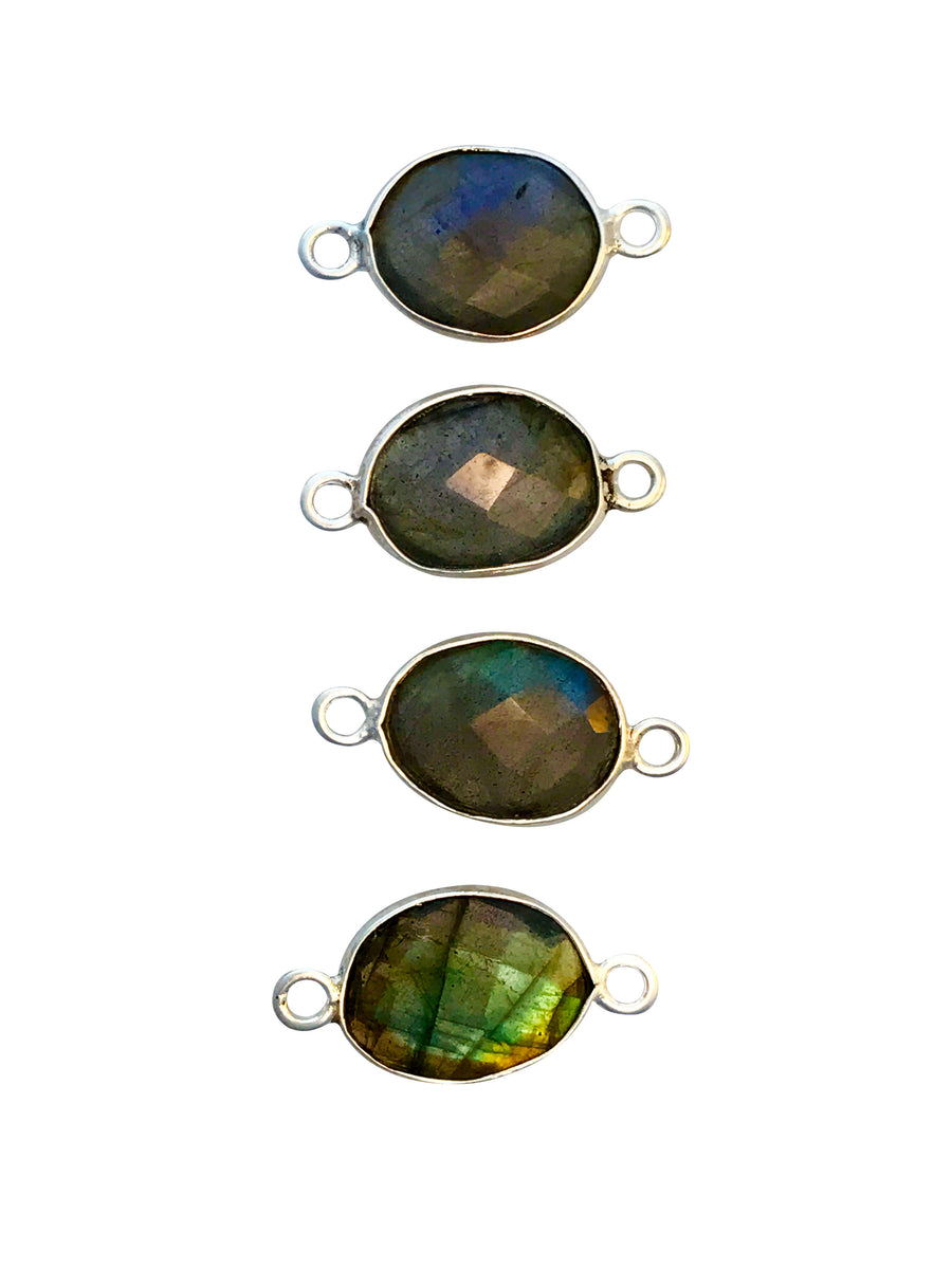 9x7-12x10mm Labradorite (N) Double Sided Freeform Oval Link