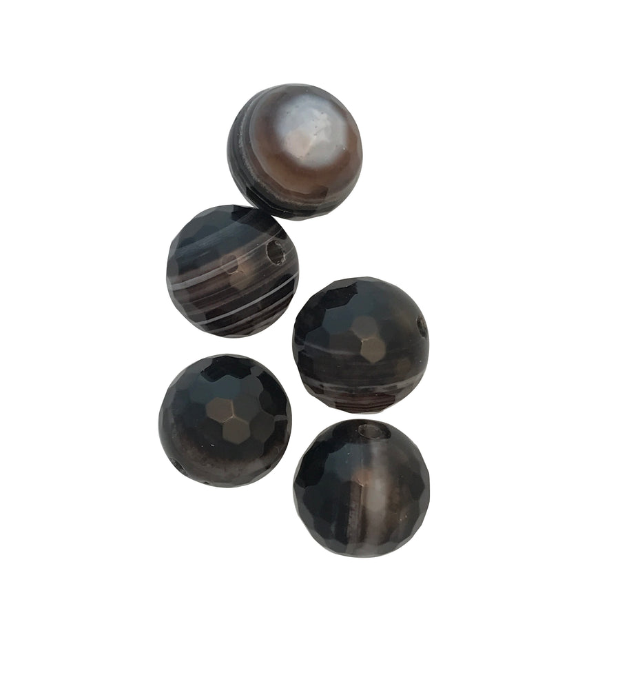 12mm Banded Black Onyx Round