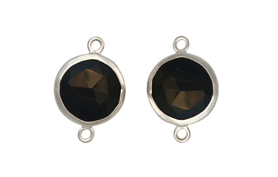 12mm Black Onyx (D) Double Sided Faceted Round Link