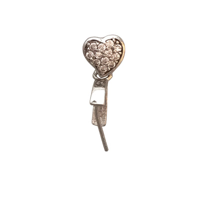 15x11mm Heart Pinch Bail with Cubic Zirconia Inlays in Sterling Silver