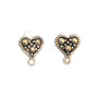 6x6mm Marcasite (N) Heart Sterling Silver Earring Studs with Closed Loop