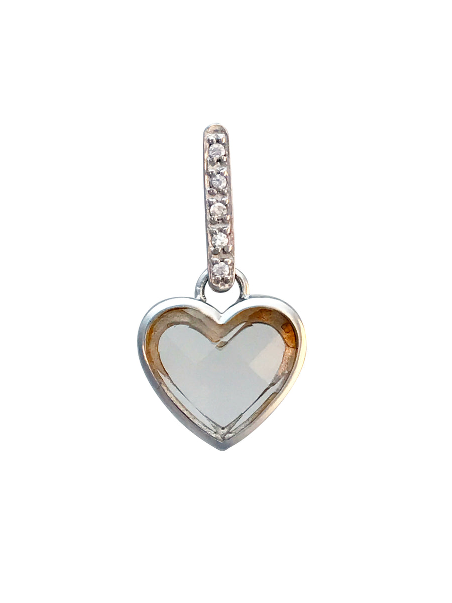 24x11mm Silver Heart Pendant with CZ
