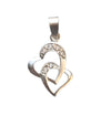 25x10mm Silver Double Heart Pendant with CZ Inlay