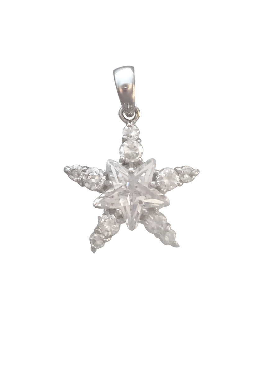 25x18mm Silver Double Star Pendant with CZ Inlay