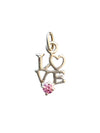 15x8.5mm Silver and Cubic Zirconia Love Charm