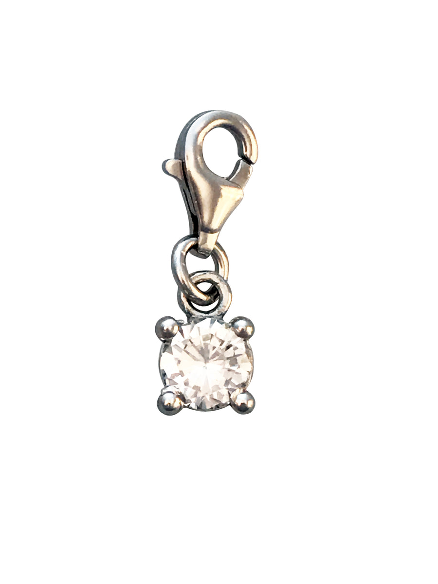 6mm Silver and Cubic Zirconia Solitaire Charm