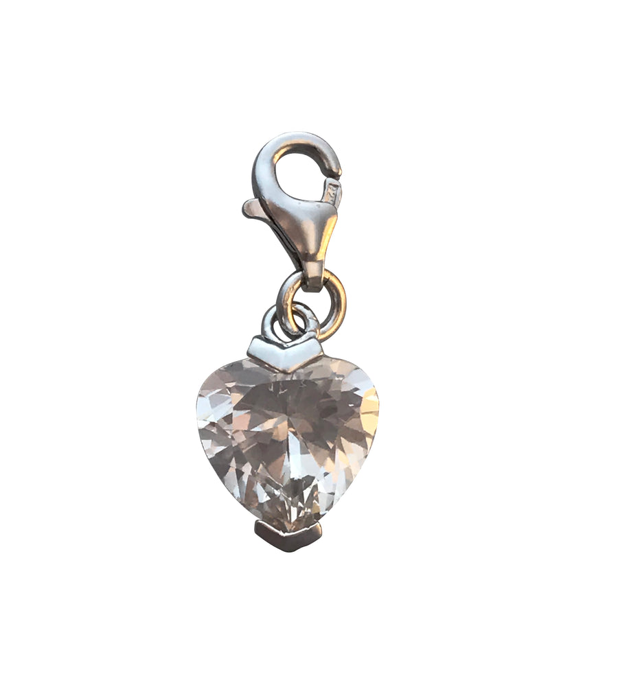 11x9mm Silver and Cubic Zirconia Heart Charm