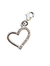 12x12mm Silver and Cubic Zirconia Heart Charm