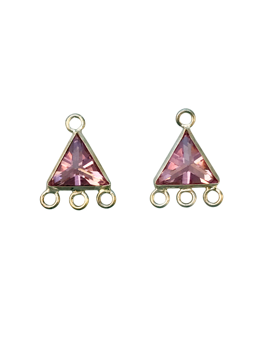 8x8mm Silver and Cubic Zirconia Triangle Drop Charm