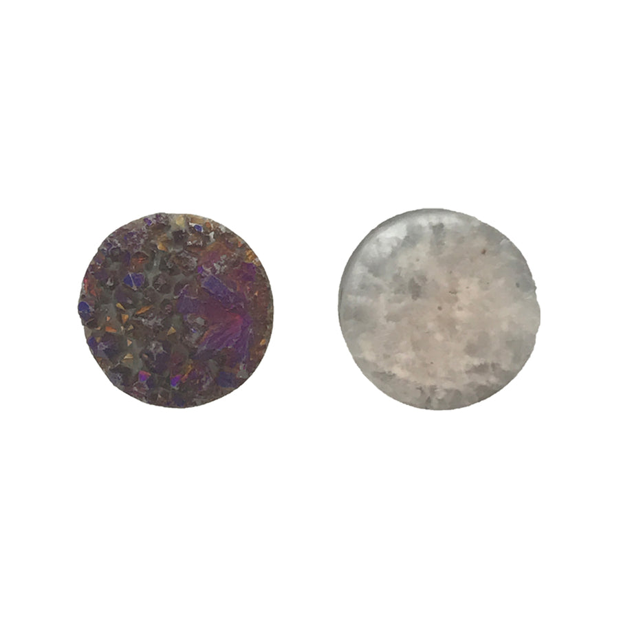 12mm Agate Druzy Geode Coin Bead, Iridescent Purple