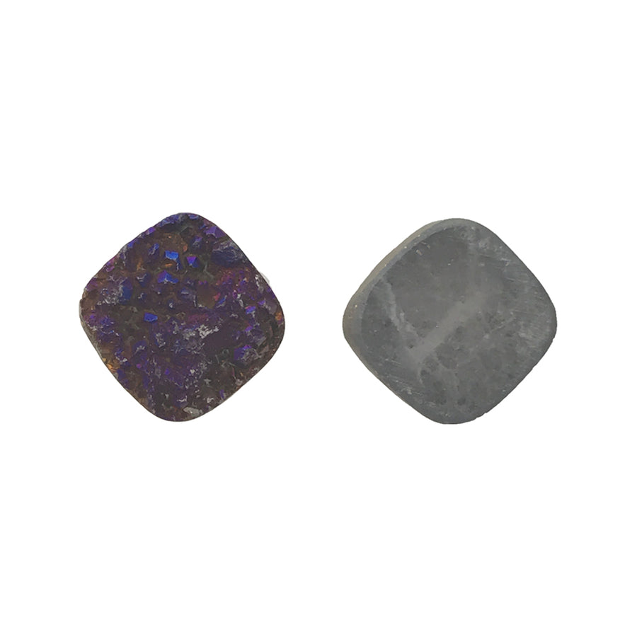 12mm Agate Druzy Square Bead, Iridescent Purple