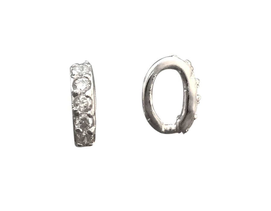 9x2.5mm Sterling Silver and Cubic Zirconia Slide Bead
