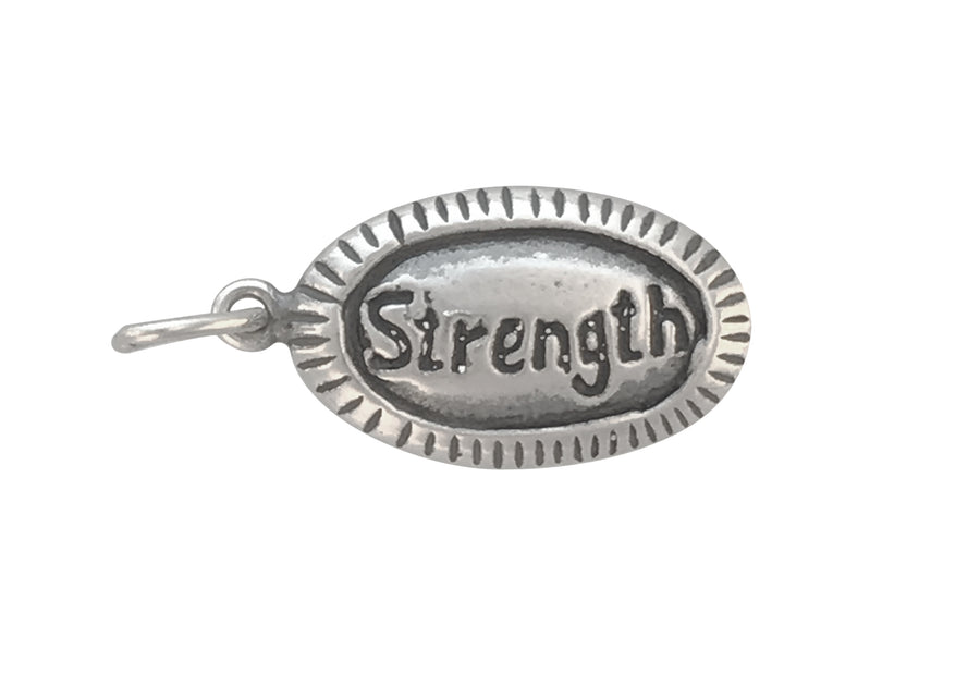 14x9mm Antiqued Sterling Silver and Enamel Strength Affirmation Charm