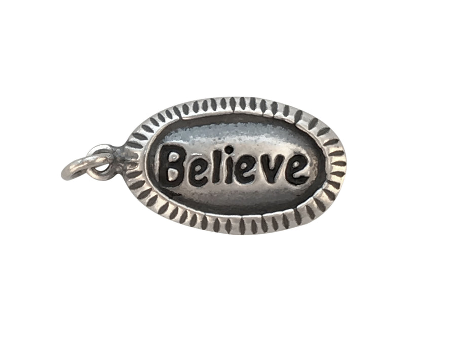 14x9mm Antiqued Sterling Silver and Enamel Believe Affirmation Charm