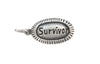 14x9mm Antiqued Sterling Silver and Enamel Survivor Affirmation Charm