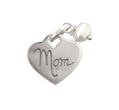 14x13mm Sterling Silver Two-Sided Mom Engraved Charm With Pearl