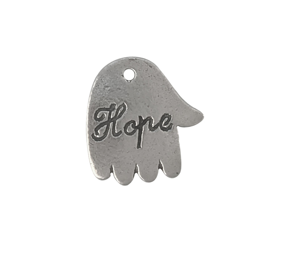 12x10mm Sterling Silver Single-Sided Hope Engraved Charm