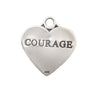 17x15mm Sterling Silver Two-Sided Courage Engraved Charm