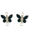 Swarovski® Crystals 12x8mm Montana and Crystal Clear Sterling Silver Butterfly Link