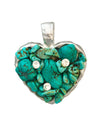 40x45 Gemstone Heart Pendant With Three Crystals