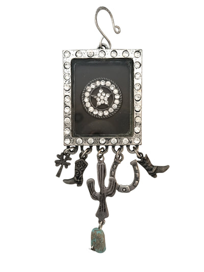 40x33mm Star Shadowbox Pendant With Hanging Charms