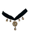 Black Jewel Drop Choker, 13 Inches