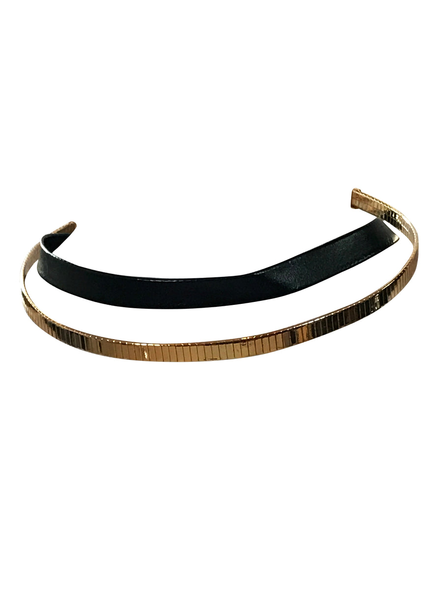 Gold Tone and Faux Leather Double Layered Choker, 12 Inches