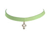 Light Blue Suedette Cross Choker, 12 Inches