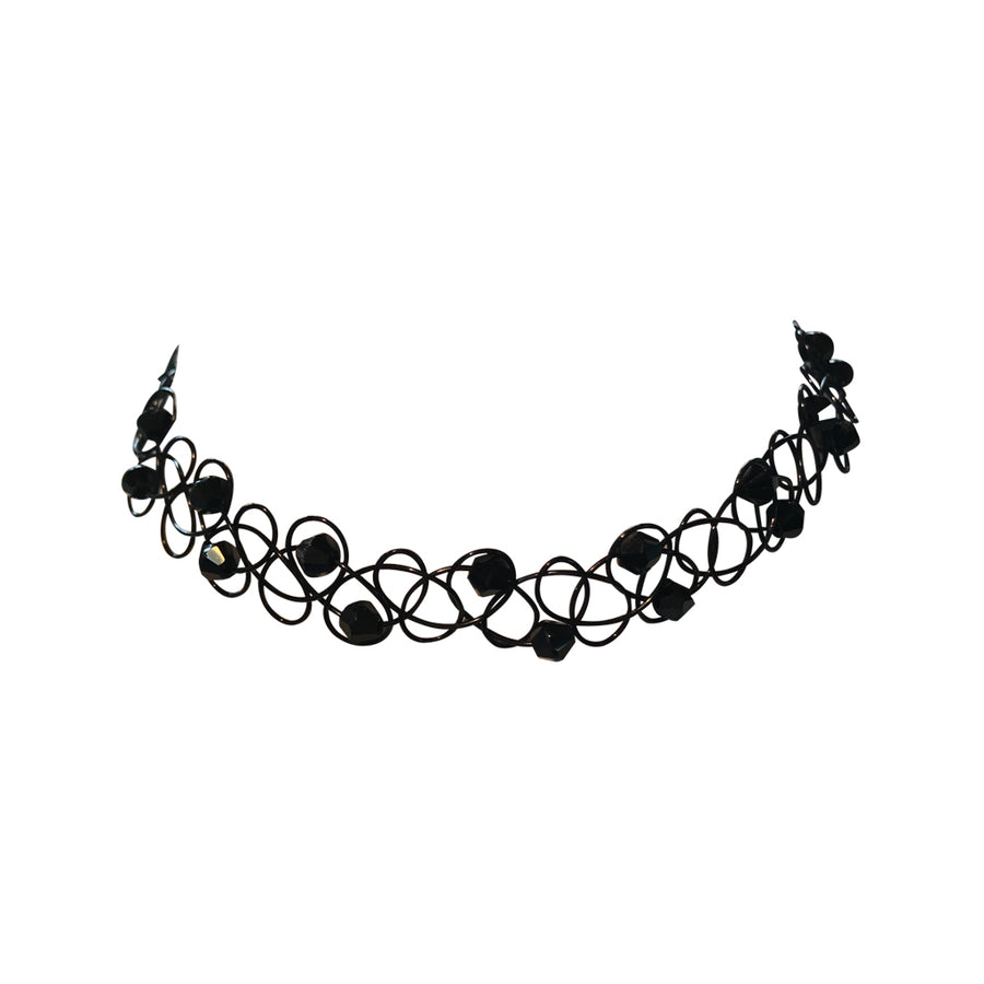 Black Beaded Stretch Choker