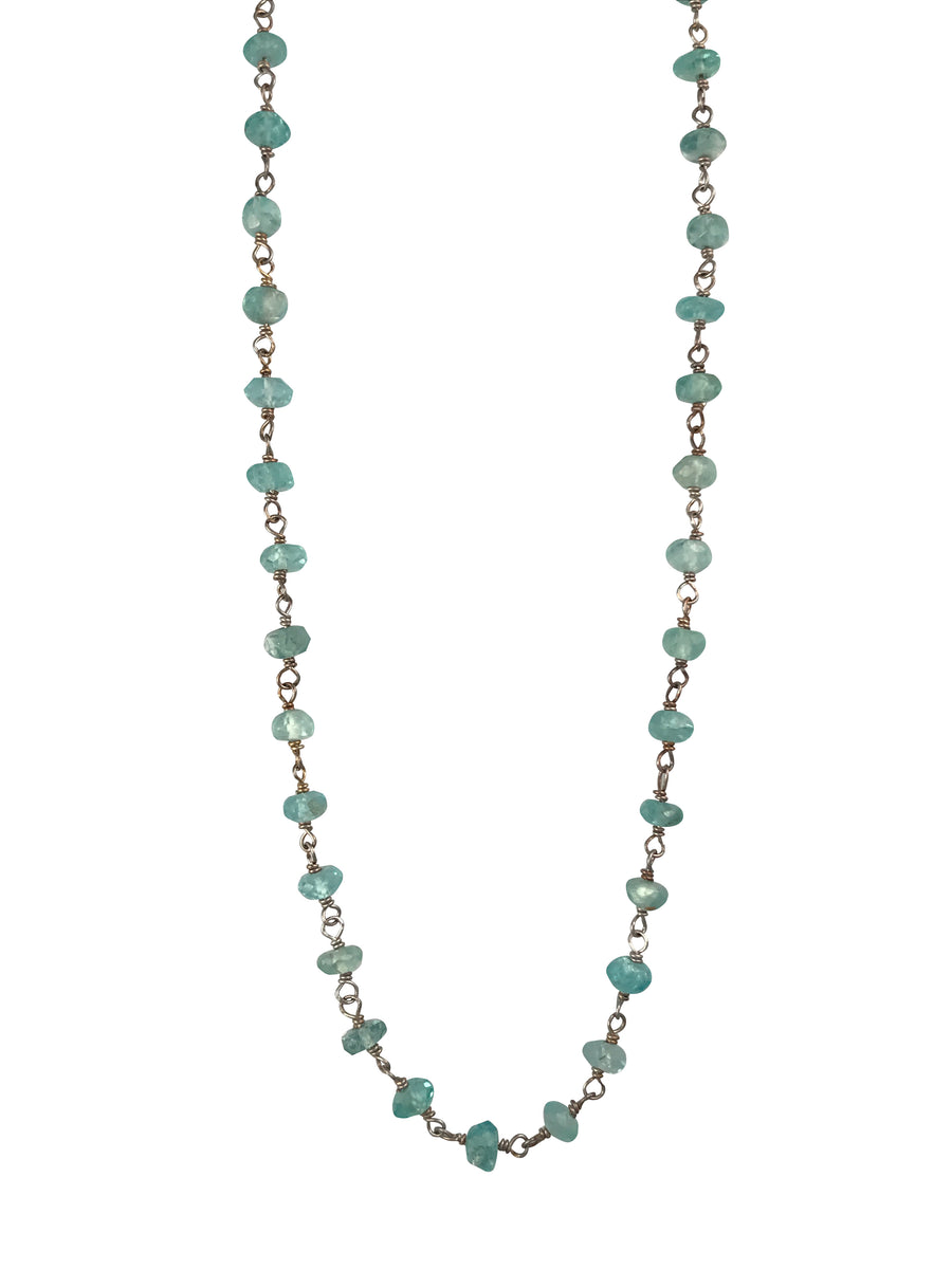 Rhodium Plated Sterling Silver and Natural Apatite Necklace, 18 Inches