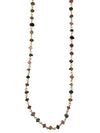 Gold Finished Sterling Silver and Natural Multi Tourmaline Necklace, 18 Inches