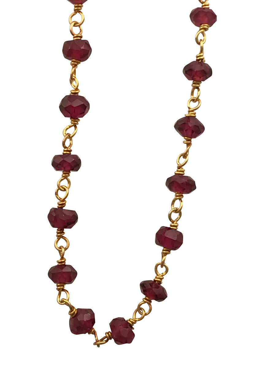 Gold Finished Sterling Silver and Natural Garnet Necklace, 18 Inches