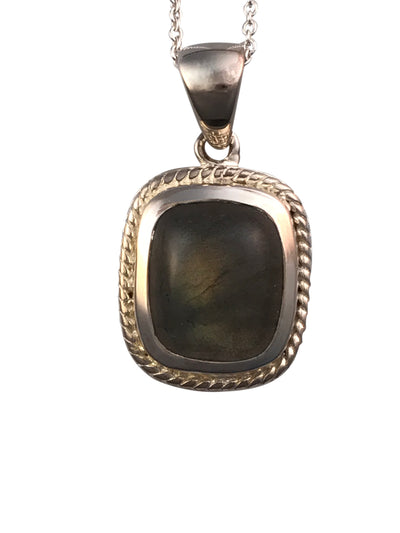 Sterling Silver and Natural Labradorite Necklace, 18 Inches