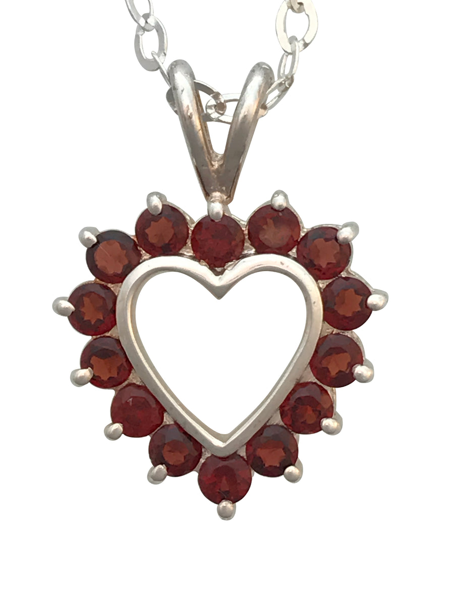 Sterling Silver and Natural Garnet Necklace, 18 Inches