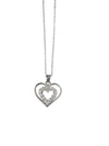 Rhodium Plated Sterling Silver Necklace With Cubic Zirconia, 16 Inches