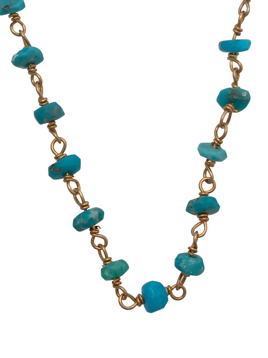 Gold Finished Sterling Silver and Natural Sleeping Beauty Turquoise Necklace, 18 Inches