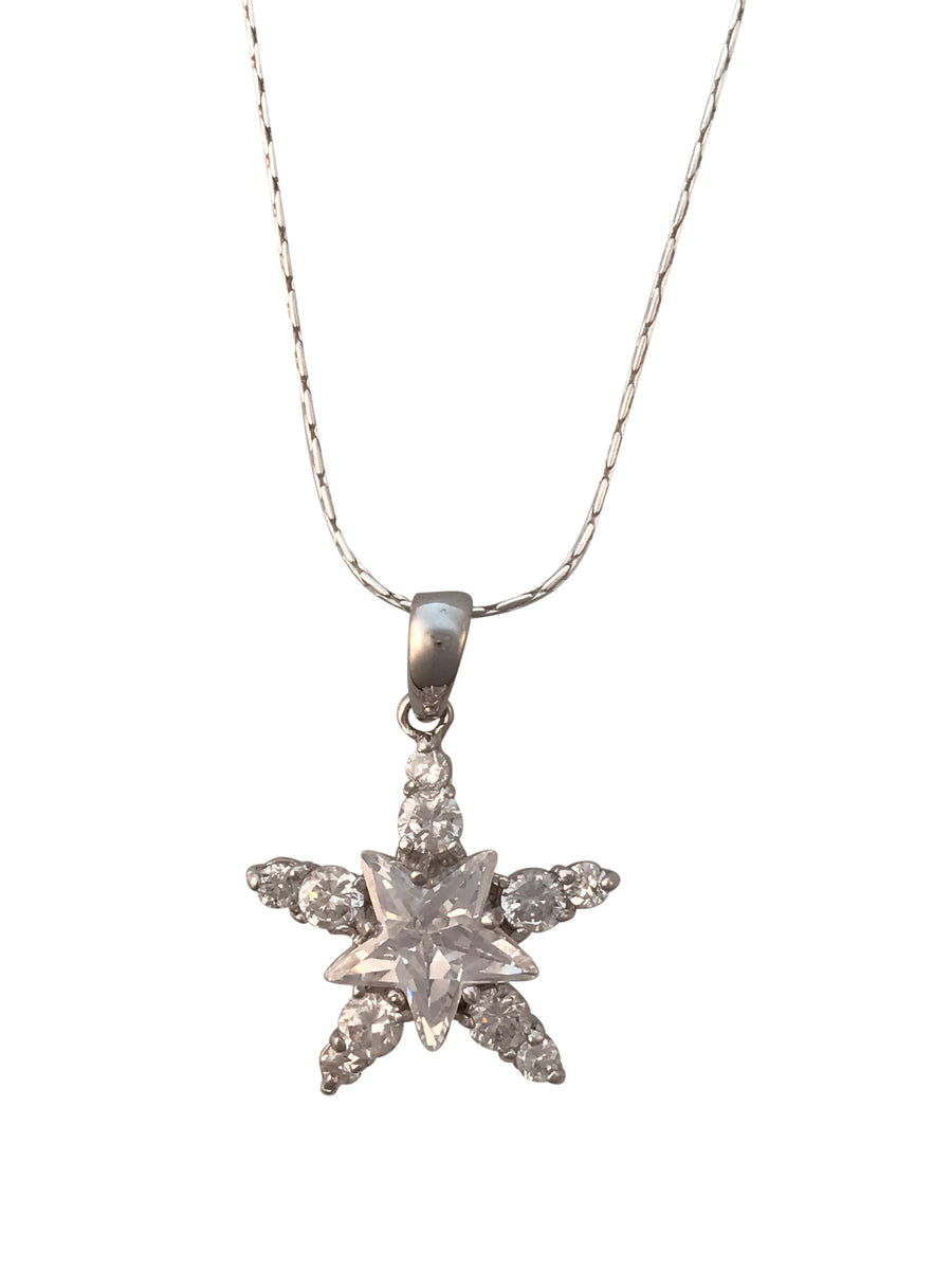 Rhodium Plated Sterling Silver Cubic Zirconia Star Necklace, 18 Inches