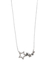 Rhodium Plated Sterling Silver Cubic Zirconia 5 Star Necklace, 18 Inches