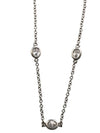 Rhodium Plated Sterling Silver Round Cubic Zirconia Necklace, 18 Inches