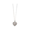 Rhodium Plated Sterling Silver Heart Cubic Zirconia Necklace, 18 Inches