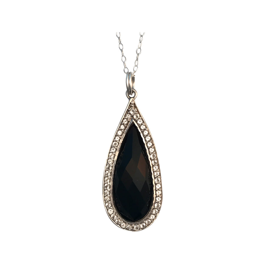 Sterling Silver and Dyed Black Onyx with Natural White Topaz Necklace, 18 Inches