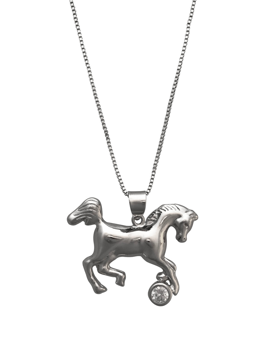 Horse Necklace With Crystal Accent, 18 Inches