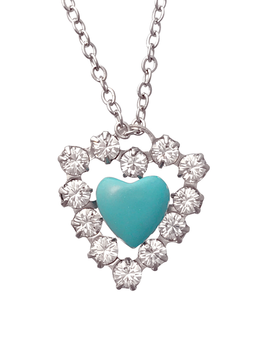 Crystal Imitation Turquoise Heart Necklace, 18 Inches