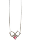 Heart and Horseshoe Crystal Necklace, 18 Inches