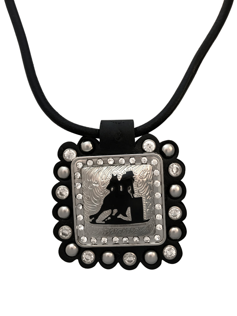 Barrel Racer Square Concho Necklace, 17 Inches