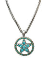 Oversized Western Crystal Star Necklace, 16 Inches