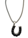 Oversized Black Crystal Horseshoe Necklace, 16 Inches