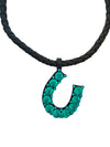 Oversized Green Crystal Horseshoe Necklace, 16 Inches